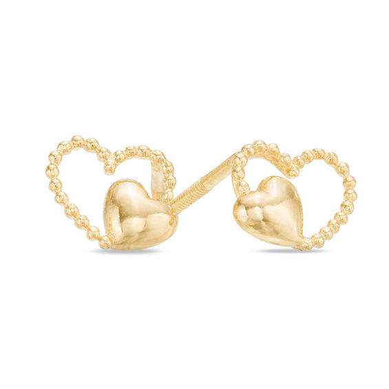 Child S Double Heart Stud Earrings In 14k Gold