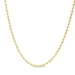 10K Gold 016 Gauge Rope Chain Necklace - 26""
