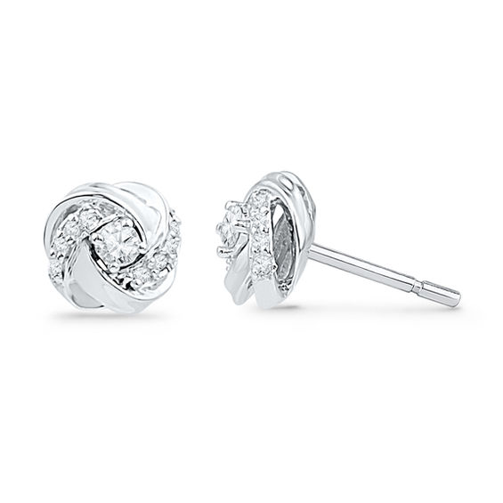 T W Diamond Love Knot Stud Earrings In 10k White Gold