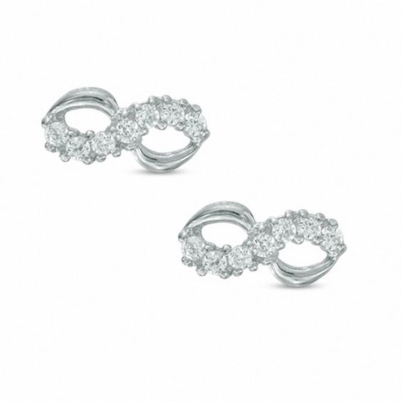 Cubic Zirconia Infinity Stud Earrings In 10k White Gold