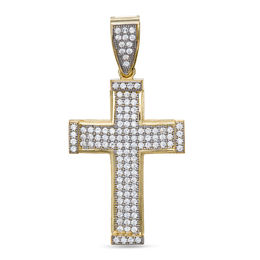 Cubic Zirconia Cross Necklace Charm in 10K Gold