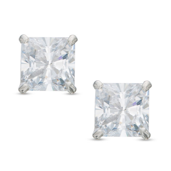 4mm Princess Cut Cubic Zirconia Solitaire Stud Earrings In 14k White Gold