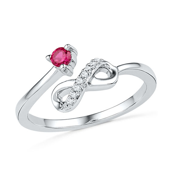 Lab-Created Ruby and Diamond Accent Infinity Midi Ring in Sterling Silver