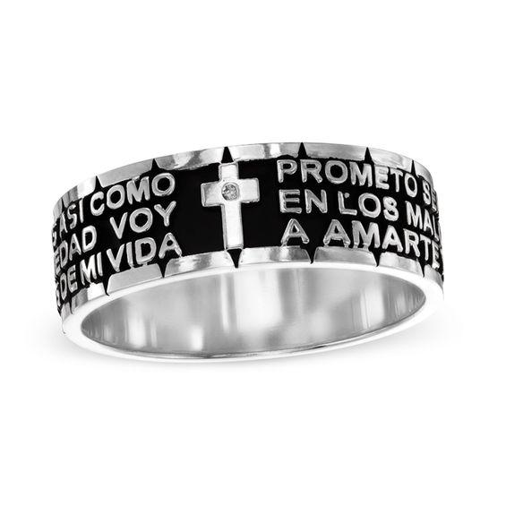 Wedding Rings Custom Moe Fashion Mens 316l Stainless Steel Ring Spanish Lord S Prayer