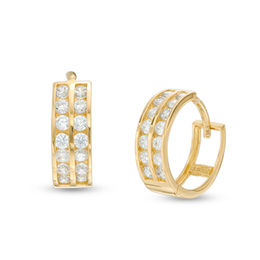 Men S Cubic Zirconia Double Row Huggie Hoop Earrings In 14k Gold