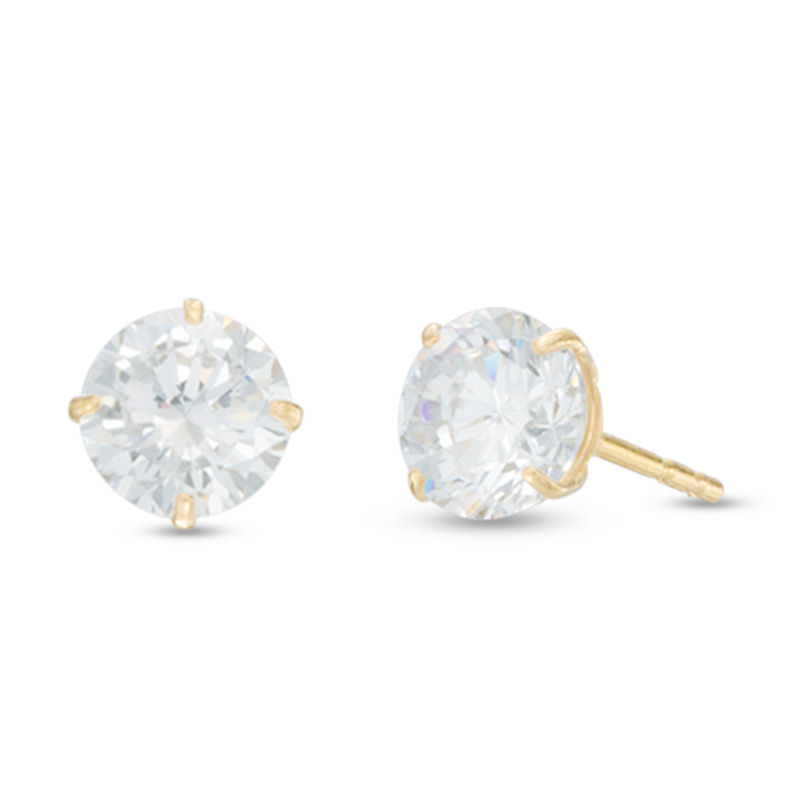 Men S 6mm Cubic Zirconia Solitaire Stud Earrings In 14k Gold