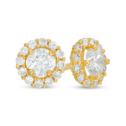 Child S 4mm White Cubic Zirconia Frame Stud Earrings In 14k Gold