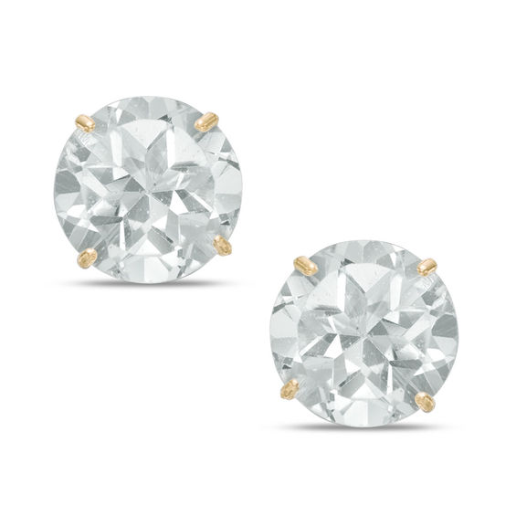 b3eab3d79 8mm White Topaz Solitaire Stud Earrings in 10K Gold | View All ...