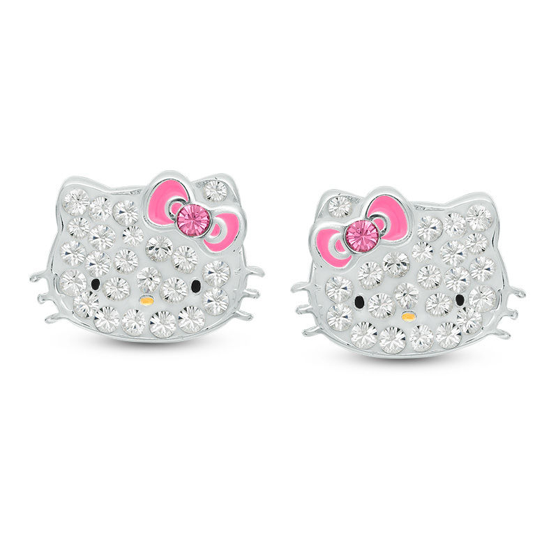 Child\'s Crystal Hello Kitty® Stud Earrings in Sterling Silver ...