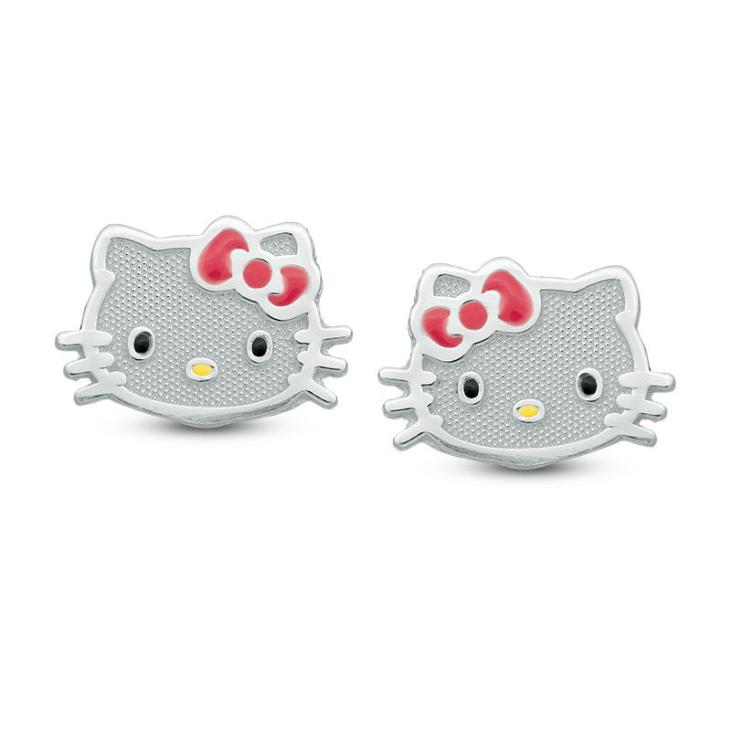 Child\'s Enamel Hello Kitty® Stud Earrings in Sterling Silver ...