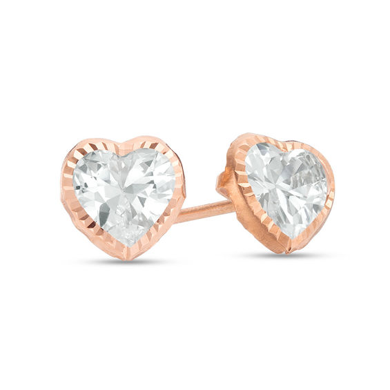 6mm Heart Shaped Cubic Zirconia Solitaire Stud Earrings In 14k Rose Gold