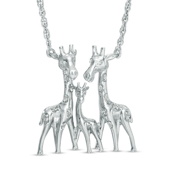 "Diamond Accent Giraffe Family Necklace in Sterling Silver - 17"" 20048256"