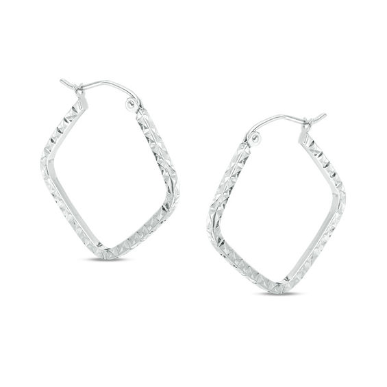 Diamond Cut Square Hoop Earrings In 10k White Gold