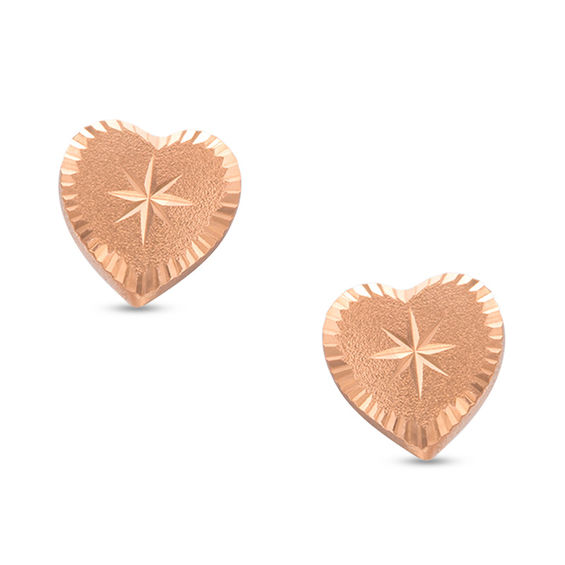 Child S Diamond Cut Heart Stud Earrings In 14k Rose Gold