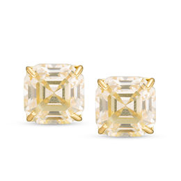 6ba9bab1a 8mm Asscher-Cut Yellow Cubic Zirconia Solitaire Stud Earrings in 10K Gold  ...