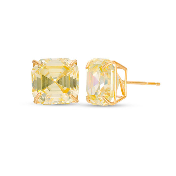 10mm Cher Cut Yellow Cubic Zirconia Solitaire Stud Earrings In 14k Gold