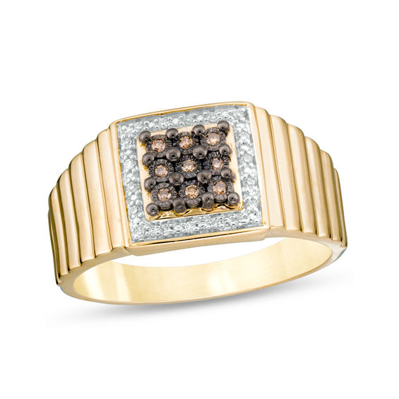 Men's 1/10 CT. T.W. Champagne and White Composite Diamond Frame Square Ribbed Ring in 10K Gold