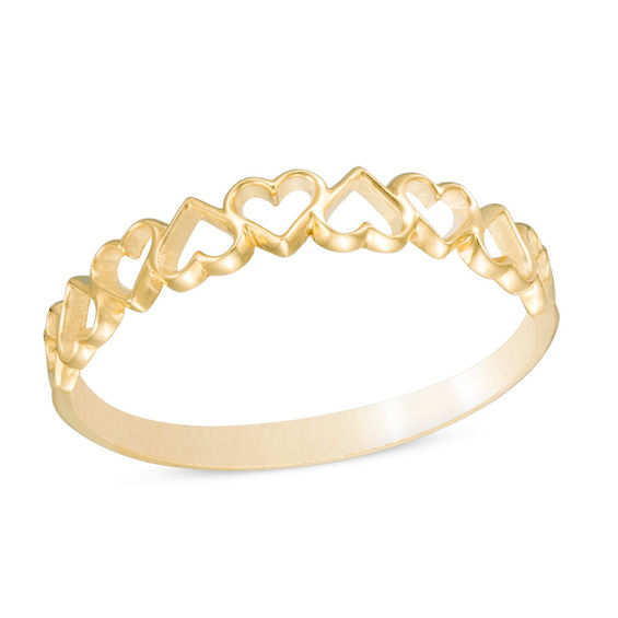 Alternating Hearts Ring in 10K Gold - Size 7