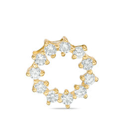 Cubic Zirconia Small Open Circle Necklace Charm in 10K Gold