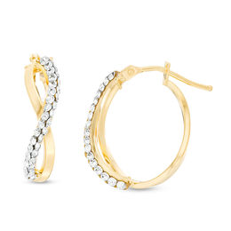 Made in Italy Crystal Oval Infinity Hoop Earrings in 10K Gold