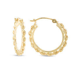 Small Rope-Textured Hoop Earrings in 10K Gold