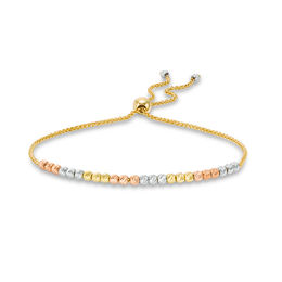 Textured Bead Bolo Bracelet in 10K Tri-Colour Gold - 9""
