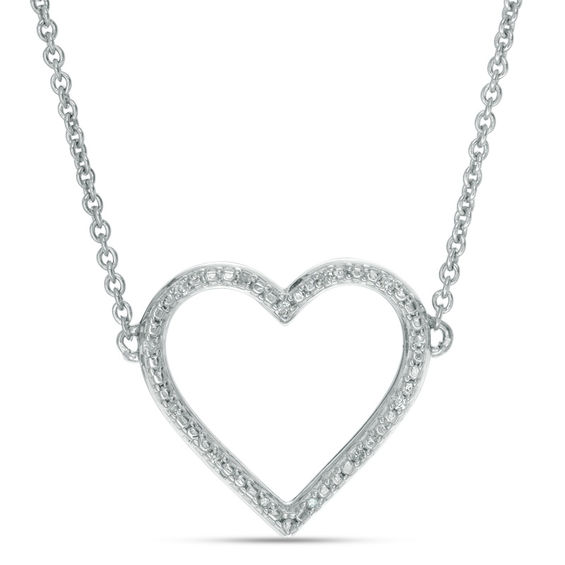a0965abd4 Diamond Accent Heart Outline Choker Necklace in Sterling Silver - 15.5