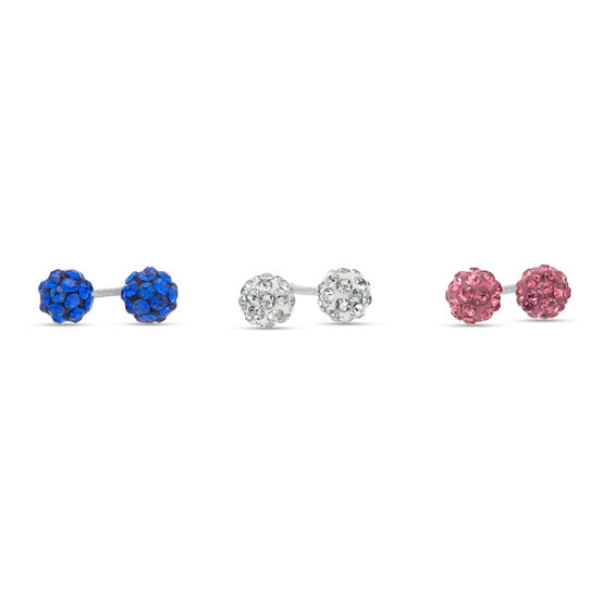 Child S 4mm Multi Color Crystal Ball Stud Earrings Set In Sterling Silver
