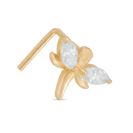 024 Gauge Marquise Cubic Zirconia Dragonfly L-Shape Nose Stud in 14K Gold