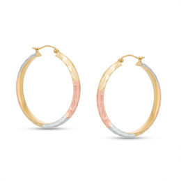 35mm Diamond-Cut Hoop Earrings in 10K Tri-Tone Gold