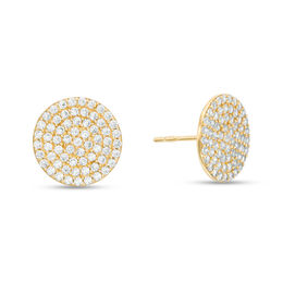 Men S Cubic Zirconia Circle Stud Earrings In 10k Gold