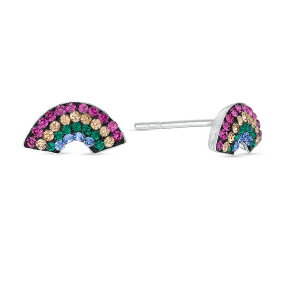 Child S Multi Color Crystal Rainbow Stud Earrings In Sterling Silver