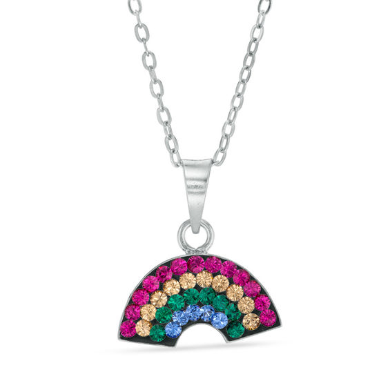 design color item pave summer girl gold micro pendant rainbow fashion necklace