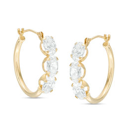 Oval Cubic Zirconia Three Stone Hoop Earrings in 10K Gold