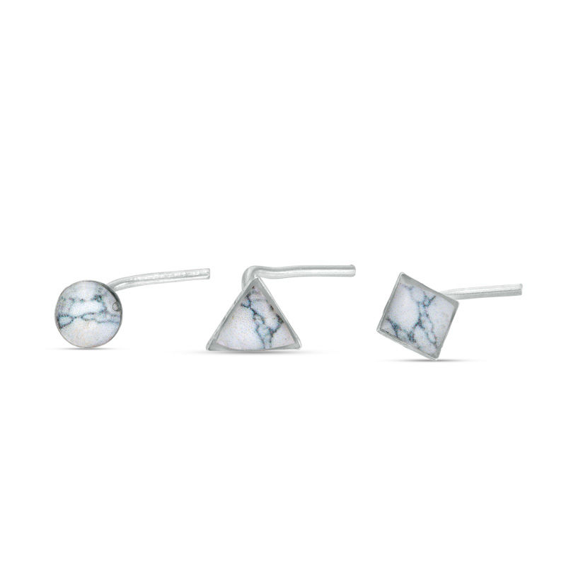 022 Gauge Multi Shaped Marble Nose Stud Set In Stainless Steel View All Jewelry Piercing Pagoda