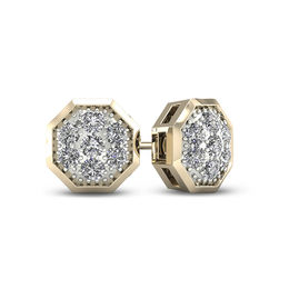 Men S 1 20 Ct T W Geometric Composite Diamond Stud Earrings In 10k Gold