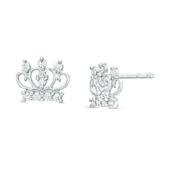 Cubic Zirconia Tiara Stud Earrings In Sterling Silver