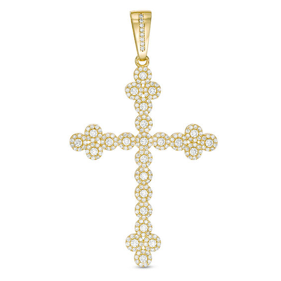 35221cbcfb0daa Cubic Zirconia Cross Necklace Charm in 10K Gold | View All Jewelry ...