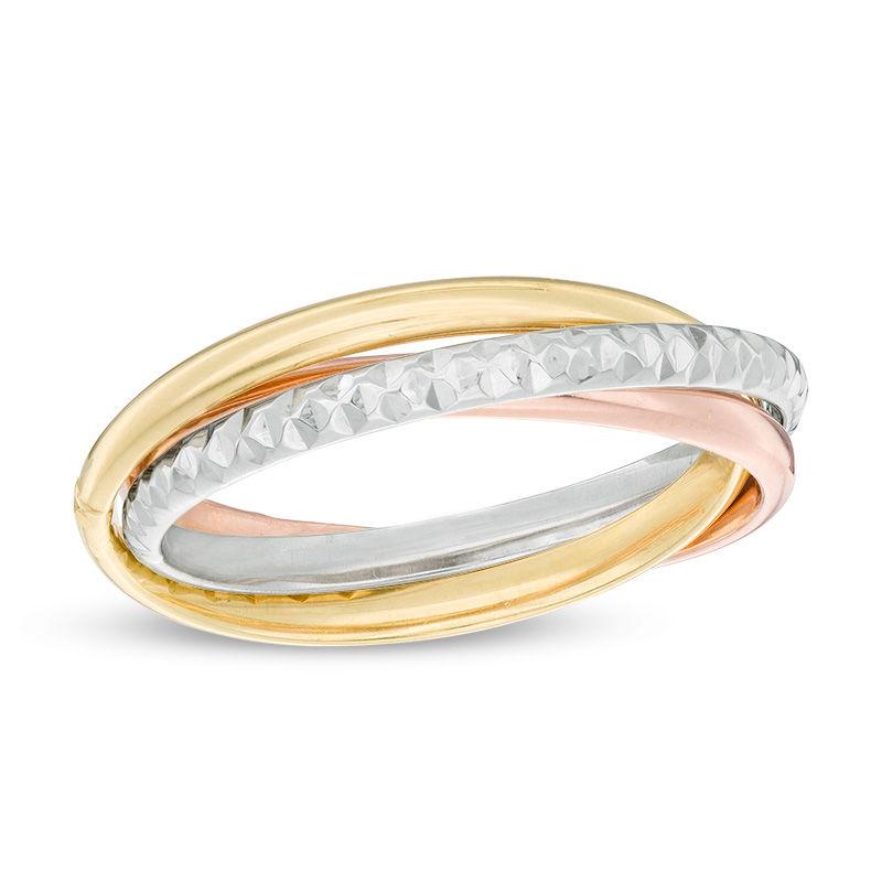 616ac4553dcd8 Multi-Finish Stacked Orbit Ring in 10K Tri-Tone Gold - Size 7 Piercing  Pagoda