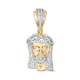 Men's 1/3 CT. T.W. Diamond Jesus Head Necklace Charm in 10K Gold