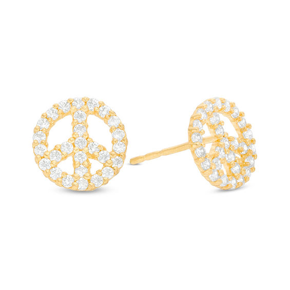 diamond in gold carat earrings products by peace sign white stud