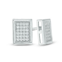 Men's Cubic Zirconia Pavé Rectangle Composite Stud Earrings in Sterling Silver