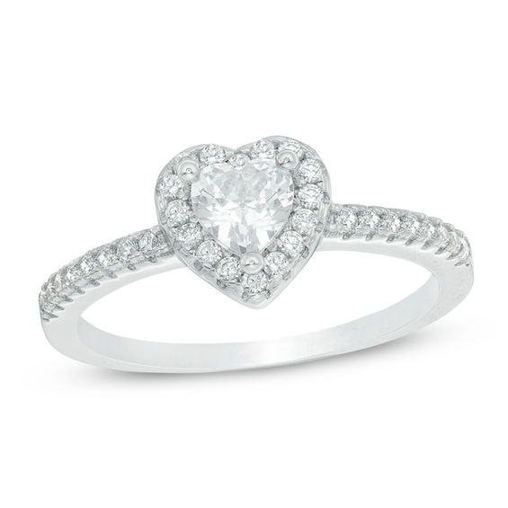 5mm Heart-Shaped Cubic Zirconia Framed Ring in Sterling Silver ...