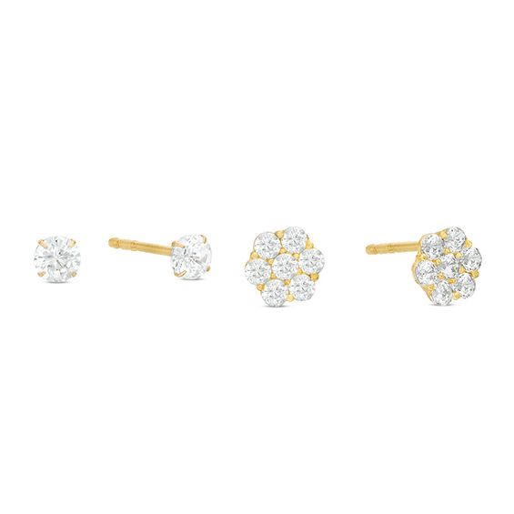3mm Cubic Zirconia And Flower Cluster Stud Earrings Set In 10K Gold