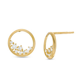 Cubic Zirconia Floating Cluster Open Circle Stud Earrings in 10K Gold