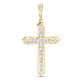 Men's 1/6 CT. T.W. Composite Diamond Gothic-Style Cross Necklace Charm in 10K Gold