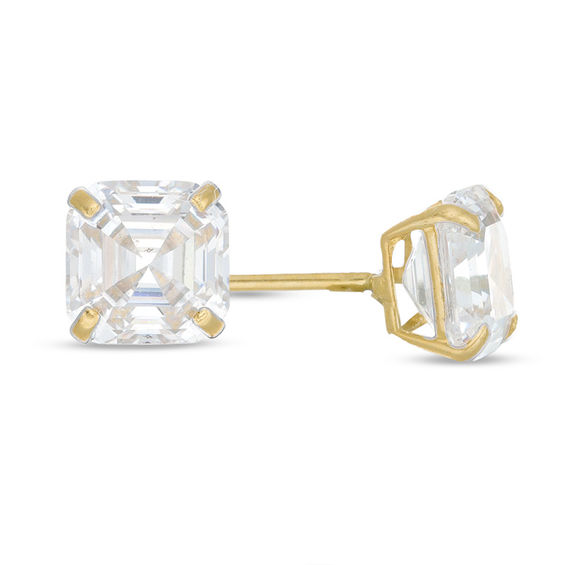 Child S 4mm Cher Cut Cubic Zirconia Solitaire Stud Earrings In 14k Gold