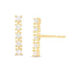 Cubic Zirconia Bar Stud Earrings in 10K Gold