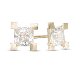 4mm Princess-Cut Cubic Zirconia Solitaire Square-Prong Stud Earrings in 10K Gold