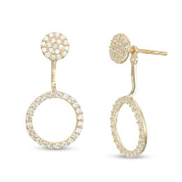 Cubic Zirconia Cluster and Open Circle Front/Back Earrings in 10K Gold